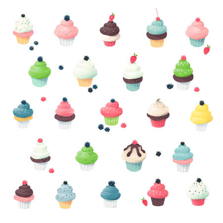 tiny: Clip art collection of cupcake miniatures Illustration