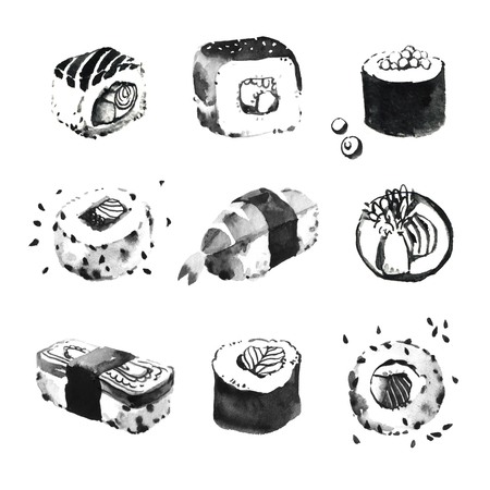 japanese food: Acuarela ilustraciones de sushi conjunto. Comida japonesa. cocina asi�tica