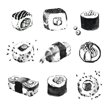 chinesisch essen: Aquarell-Illustrationen von Sushi-Set. Japanisches Essen. asiatische Küche
