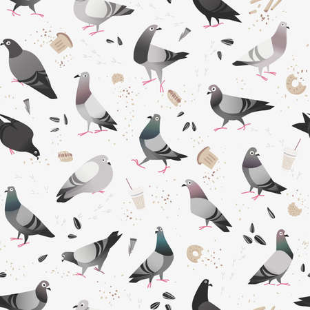 leftovers: Seamless pattern of cartoon urban pigeons in the city