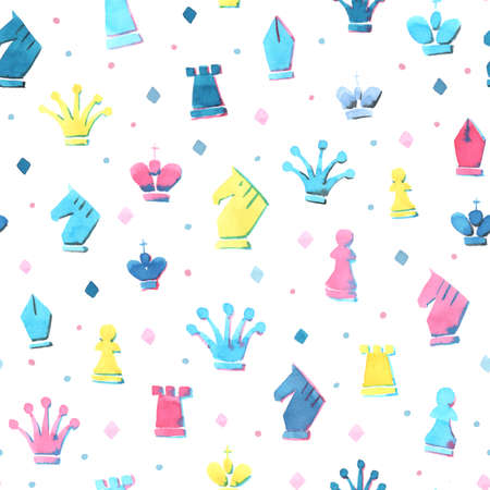 watercolour: Watercolour seamless pattern with chess icons