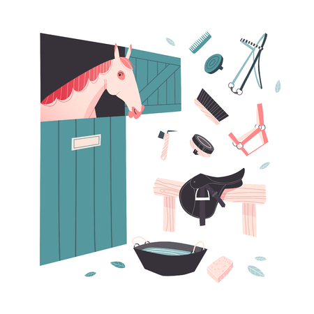 grooming: Illustrative set of equestrian yard scene. Tools for horse grooming. Red horse in the stable