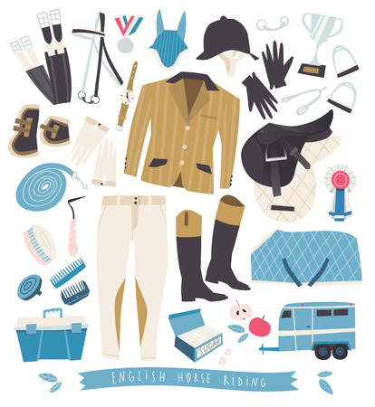 tack: English horse riding clothing, grooming tools and riding essentials Illustration