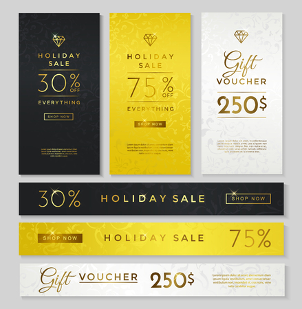 gold silver: Luxury style holiday sale banner, gift voucher, black, gold and silver