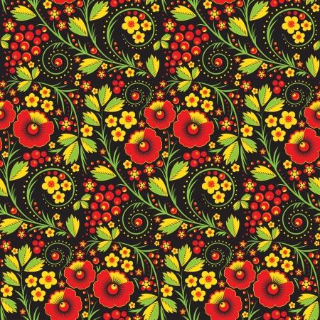 hohloma라는 러시아 전통 스타일에서 원활한 패턴