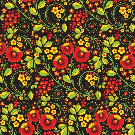 Seamless pattern in russian traditional style called hohloma Vector