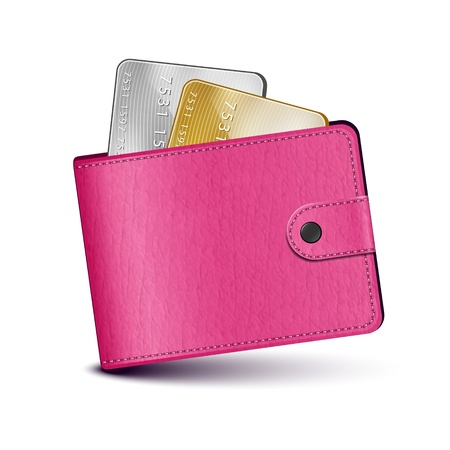woman credit card: Illustration of pink leather wallet can used as design element or icon for your application