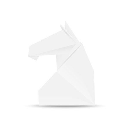 Illustration of horse head in origami style Ilustração