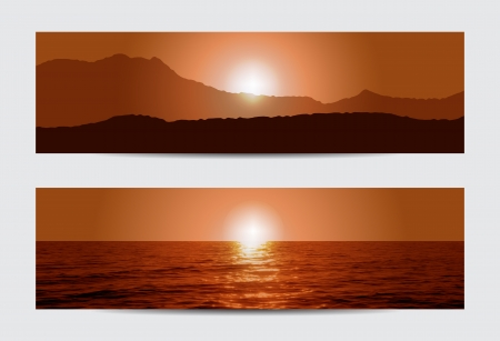 tropical beach panoramic: Set of two sunset banners with sea and mountains  Can used as background  Illustration