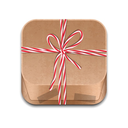 Icon of paper package tied up with strings Vector