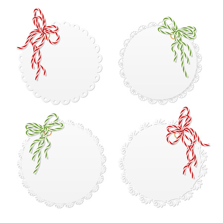 Collection of four lace vintage hang tags with twining bows Vector