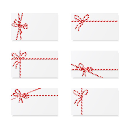 Collection of six card notes with red bows and ribbons Stok Fotoğraf - 22934331