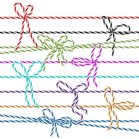 twine: Collection of multicolored bows in twine style