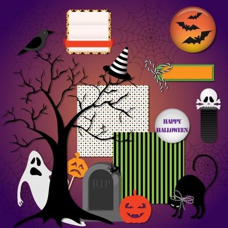 Collection of halloween design elements Vector