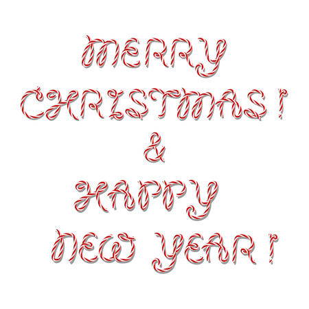 nappy new year: Merry Christmas and Nappy New Year greeting inscription in twine style Illustration