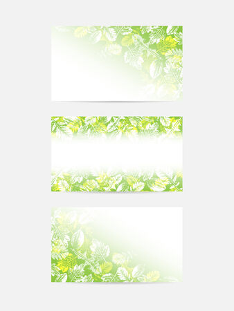 weegbree: Green leaves greeting cards with space to your text