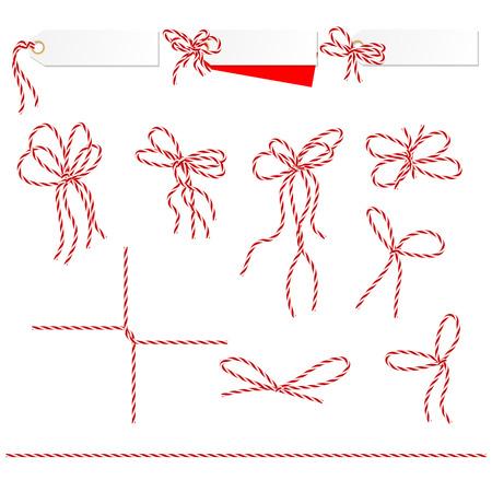 hilo rojo: Colecci�n de cintas ahd arcos en estilo cordel se puede utilizar como elementos de su dise�o Vectores