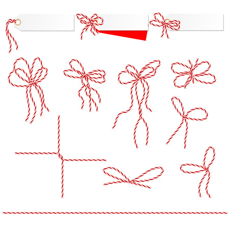 red: Collection of ribbons ahd bows in twine style can used as elements of your design