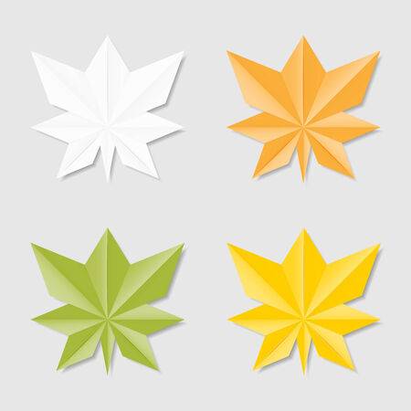 Collection of leaves in origami style for your design Vector