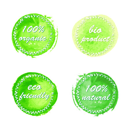 ounce: Collection of green ecology product labels in watercolor style