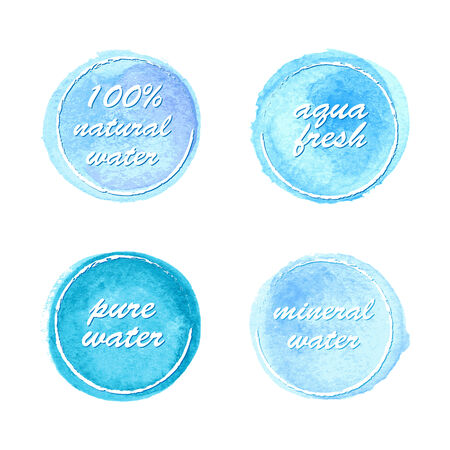 ounce: Water labels set in watercolor style for your design