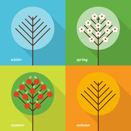 four seasons: Collection of four seasons icons in flat style