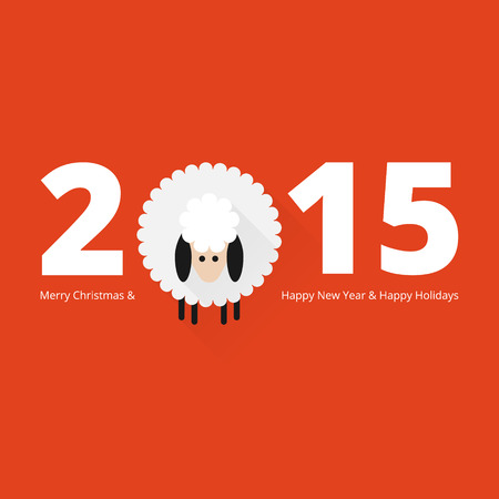 Christmas sheep greeting card in flat style Stok Fotoğraf - 33438541