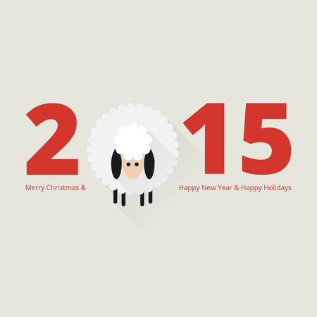 Christmas sheep greeting card in flat style Vector