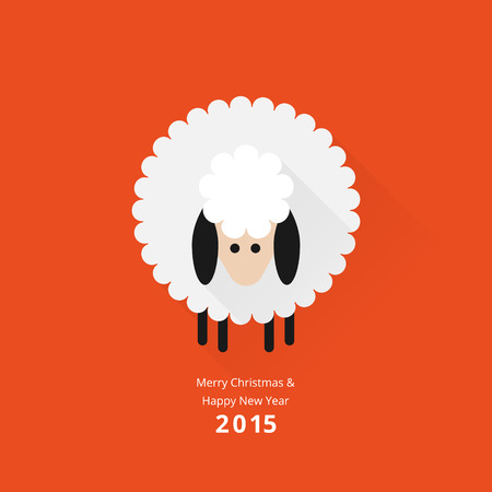 Christmas sheep greeting card in flat style Stok Fotoğraf - 33438560