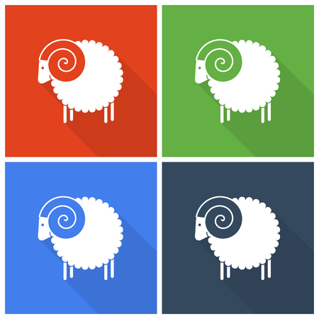 wool sheep: Christmas sheep icons in flat style
