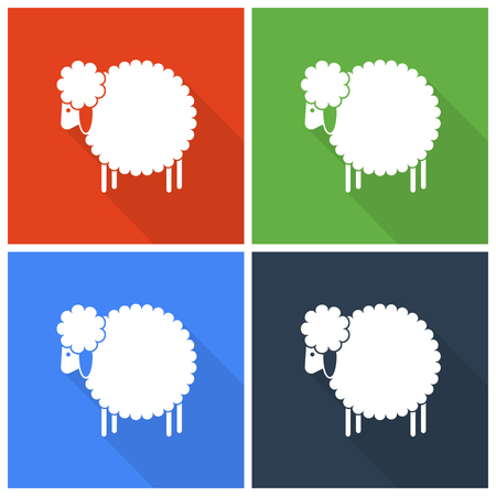 chinese zodiac: Christmas sheep icons in flat style
