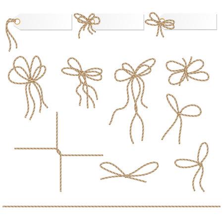 Collectie van linten ahd strikken in touw stijl voor uw ontwerp Stock Illustratie