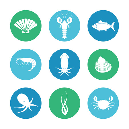 Collection of round seafood icons in flat style Ilustração