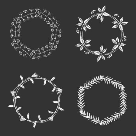 Hand drawn white round floral frames with space to your text on black background Vector