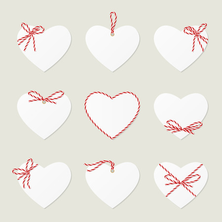 the noose: Collection of hearts with red ribbons ahd bows in twine style with space to your text Illustration