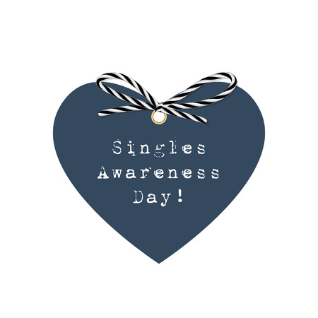 single object: Singles awareness day with heart and bow in twine style