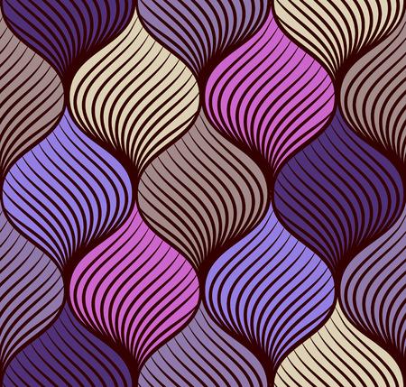 紫とベージュの色調で抽象的な三つ編みシームレスなパターン  イラスト・ベクター素材