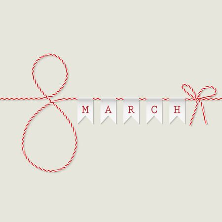 march: March 8 greeting card in twine style