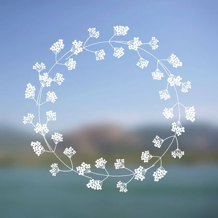 paysage: Hand drawn floral wreath with space to your text on blurred background