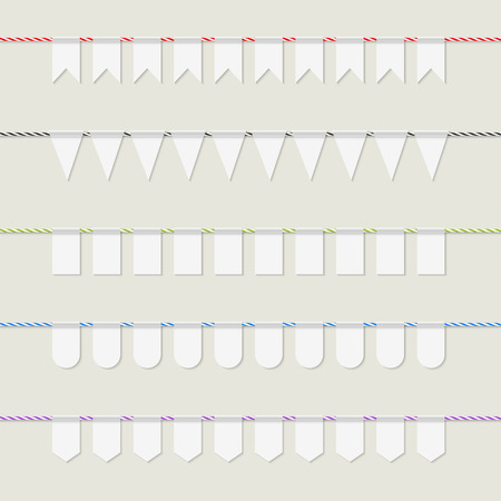 twine: Collection of white bunting banners on multicolored twine