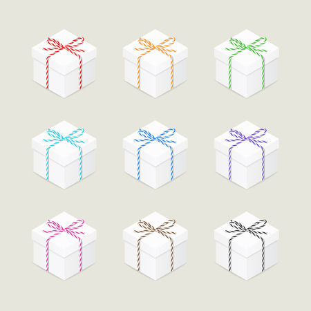 twine: Collection of present boxes with multicolored twine bows
