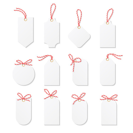 tied up: Set tags and labels tied up with red bakers twine bows and ribbons Illustration
