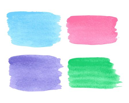 ounce: Collection of watercolor multicolored stains on white background