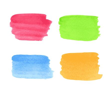 Collection of watercolor multicolored stains on white background