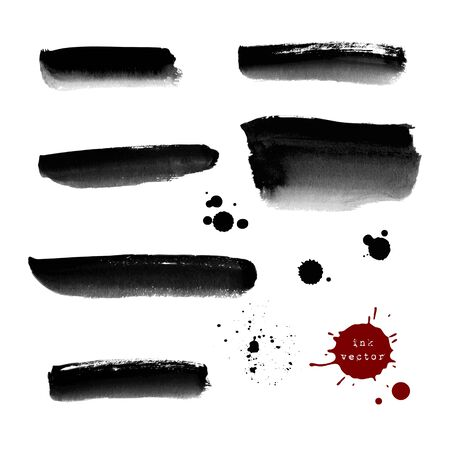 ink spill: Collection of grunge black ink banners and blots on white background