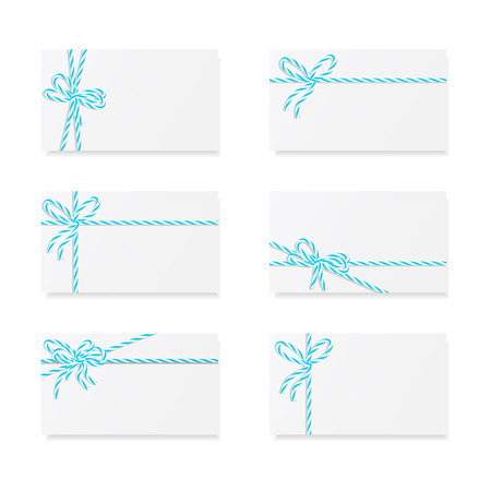 ribbons and bows: Collection of six card notes with blue bows and ribbons Illustration
