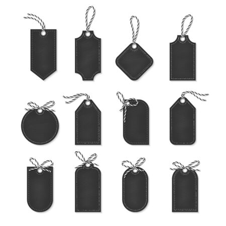 black bow: Set of chalkboard tags and labels tied up with black bakers twine bows and ribbons