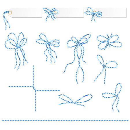 twine: Collection of blue bakers twine ribbons ahd bows