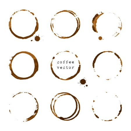 slick: Collection of coffee round stains and blots on white background Illustration