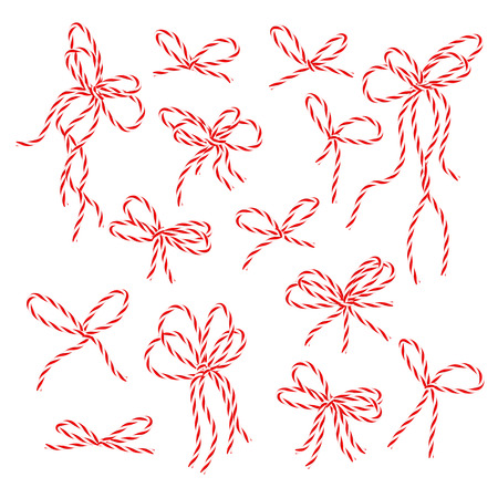 favour: Collection of red bakers twine bows on white background Stock Photo